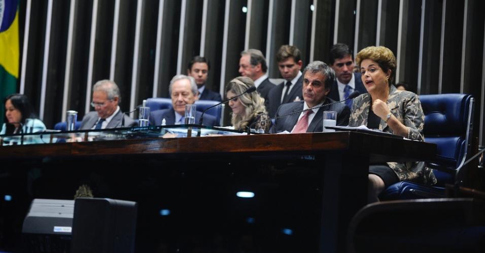 29.ago.2016 - A defesa da presidente afastada, Dilma Rousseff, não fez questionamentos a ela, que usou o tempo de fala para fazer suas considerações finais sobre o processo de impeachment
