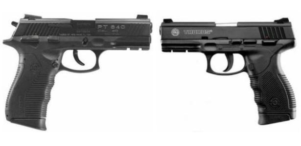 Pistolas PT 840 (à esquerda) e 380 (à direita) da Taurus foram proibidas após disparos involuntários