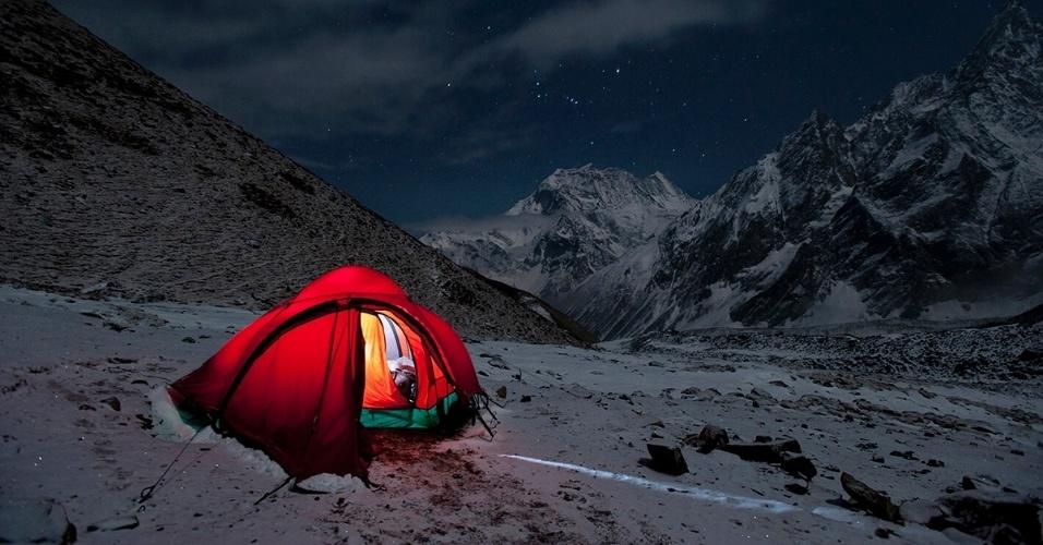 Uma barraca na trilha de Manaslu, no Nepal. O caminho inigualável da região de Manaslu é igualmente desafiador e gratificante, com casas de chá que servem como pontos de descanso ao longo do caminho. A montanha é a oitava mais alta do mundo