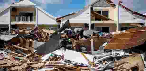 Rastros de destruição na ilha de São Martinho após passagem de furacão Irma - Lionel Chamoiseau/AFP