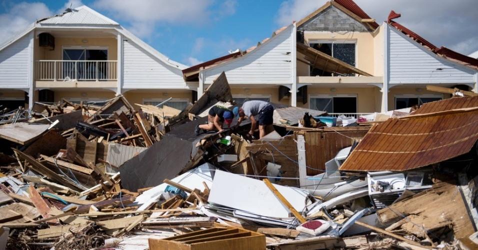 7.set.2017 -  A passagem do furacão Irma deixou um rastro de destruição em Orient Bay, na ilha franco francesa São Martinho
