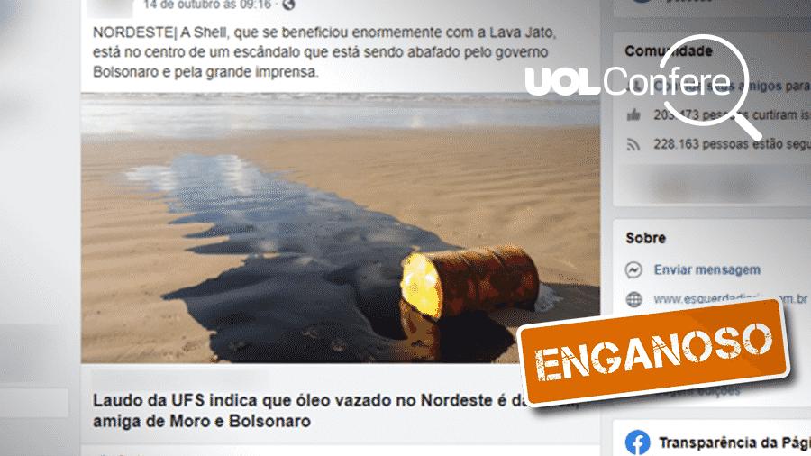 22.out.2019 - Comprova - É enganosa publicação que atribui à Shell responsabilidade pelo óleo encontrado em praias do Nordeste - Arte/UOL