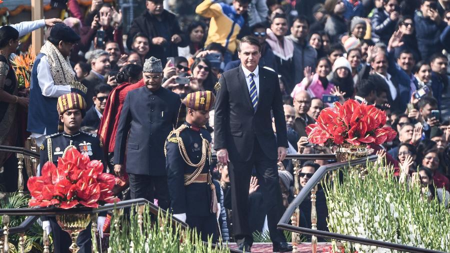 O presidente Jair Bolsonaro participa de cerimônia do Dia da República na Índia - Prakash Singh/AFP