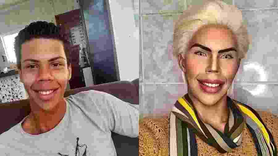 Felipe disse que gasta mais de R$ 150 por mês com a compra de maquiagens para usar e se parecer com o boneco - Reprodução e Reprodução/Instagram/felipe__adam
