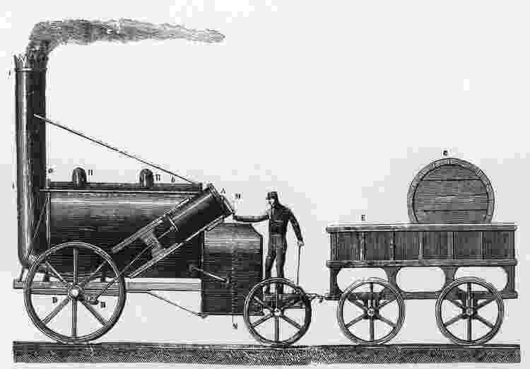 Rocket, a locomotiva a vapor projetada e construída por George e Robert Stephenson - Getty Images - Getty Images