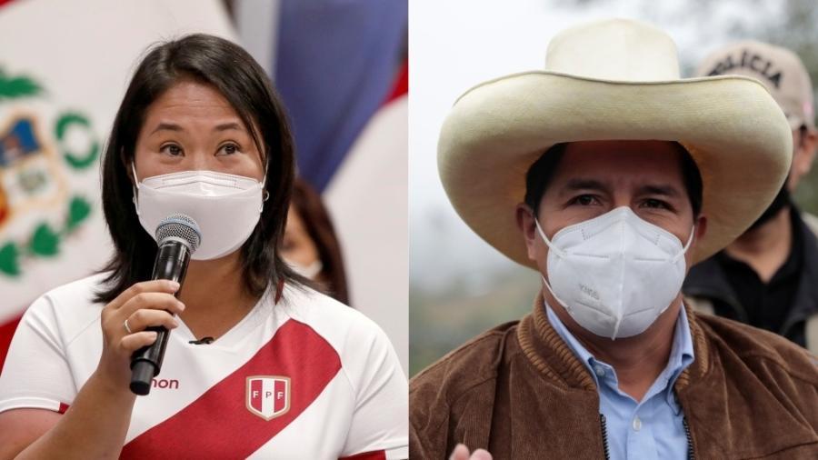 Keiko Fujimori (Força Popular) e Pedro Castillo (Peru Livre), candidatos à presidência do Peru em 2021 - Angela Ponce e Alessandro Cinque/Reuters