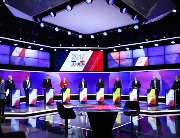 Os 11 candidatos à Presidência da França em programa especial na TV estatal France 2