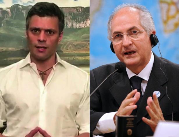 Os políticos opositores Leopoldo López e Antonio Ledezma