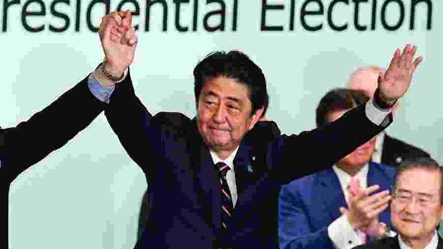 20.set.2018 - O primeiro-ministro do Japão, Shinzo Abe - MARTIN BUREAU/AFP