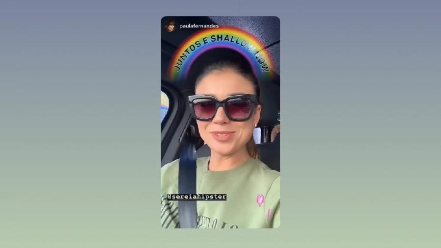 """Paula Fernandes com o filtro do Instagram """"Juntos e Shallow Now"""" - Reprodução/Instagram @sereiahipster"""