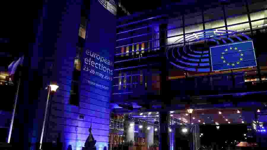 26.mai.2019 - Prédio de Parlamento Europeu anunciando na fachada a data das eleições europeias - Arquivo/Yves Herman/Reuters