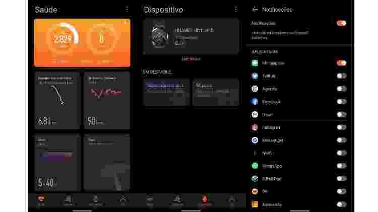 Telas do app Huawei Health - Reprodução - Reprodução