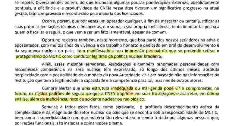Trechos do ofício enviado pelo presidente da CNEN, brigadeiro Paulo Pertusi, ao Ministério da Ciência e Tecnologia em novembro de 2019 - Reprodução - Reprodução