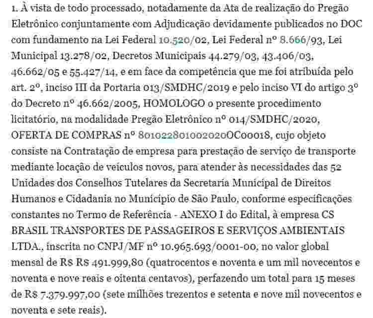 Extrato do segundo contrato assinado entre a prefeitura de SP e a empresa CS Brasil, publicado no Diário Oficial do município em julho 2020 - Reprodução - Reprodução