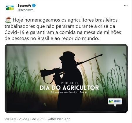 Secom apagou publicação com foto de homem armado em comemoração ao Dia do Agricultor - Reprodução/Twitter - Reprodução/Twitter