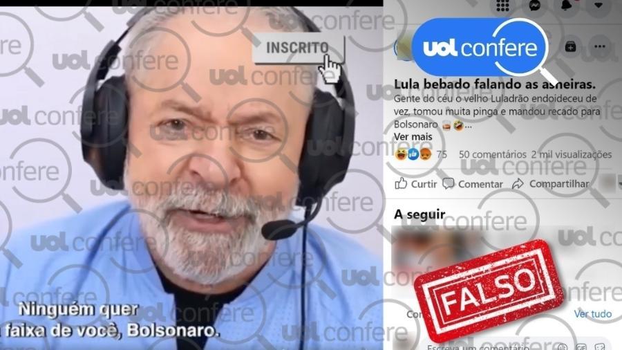 3.ago.2021 - Vídeo é adulterado para fazer parecer que Lula deu entrevista bêbado - Reprodução/Facebook