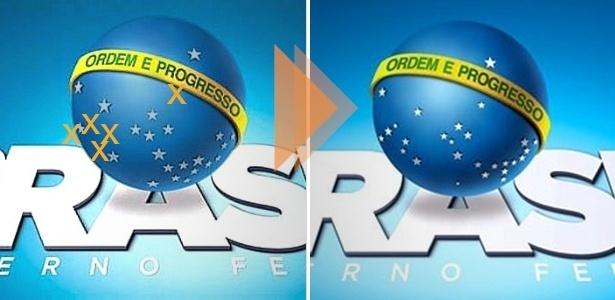 Veja a diferença entre os logotipos do governo Temer, o antigo tem cinco estrelas a menos
