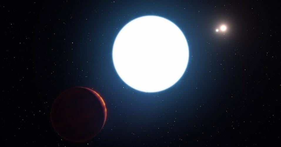 7.jul.2016 - TRÊS NÃO É DEMAIS - Uma equipe internacional de astrônomos anunciou a descoberta de um estranho planeta em um sistema solar distante que conta com três sóis. Cientistas afirmam que o mais comum é encontrar sistemas solares com dois sóis, não três ou mais. O planeta (à esq.) foi batizado de HD 131399Ab, e está localizado a cerca de 340 anos-luz da Terra, na constelação Centaurus