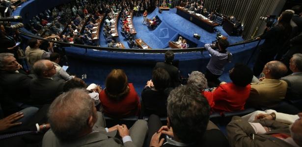 Vista do plenário do Senado durante a apresentação da defesa da presidente afastada, Dilma Rousseff