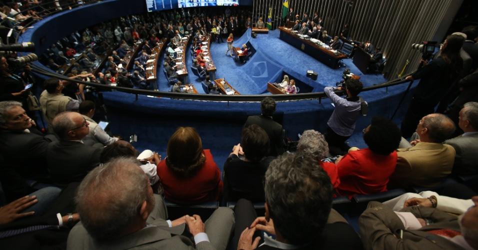 29.ago.2016 - Vista do plenário do Senado, no Congresso Nacional, em Brasília (DF), durante a apresentação da defesa da presidente afastada, Dilma Rousseff, no processo de impeachment