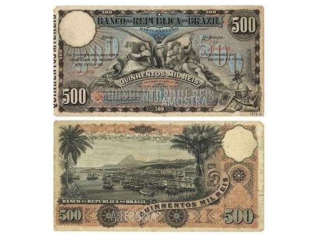 Cédula de 500 mil réis lançada em 1893. Na parte de trás uma bela imagem do porto do Rio de Janeiro no final do século 19, com o Pão de Açúcar ao fundo
