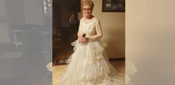 """""""Ela ainda está linda"""", disse o marido ao ver Goedde vestida de noiva"""