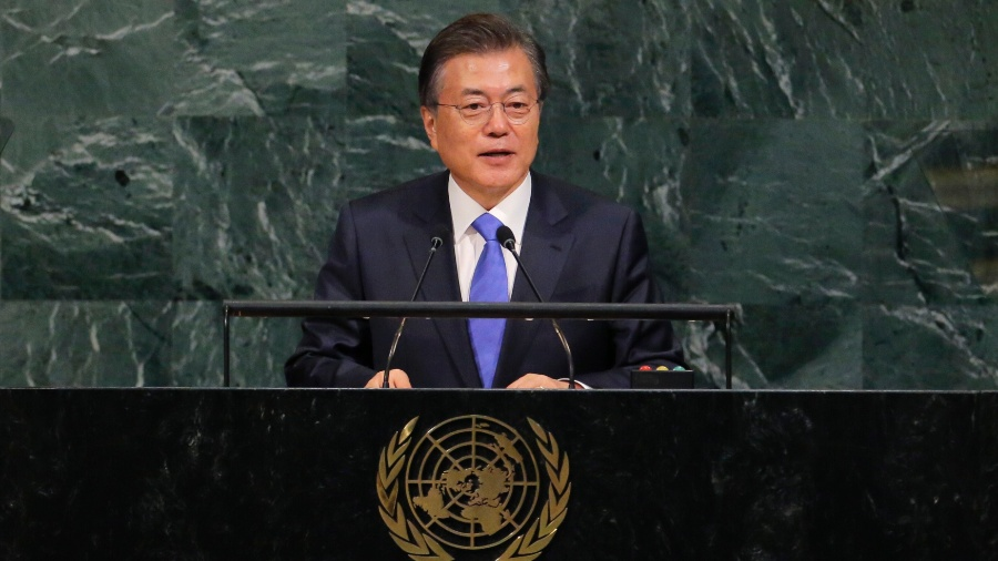 21.set.2017 - O presidente sul-coreano, Moon Jae-in, discursa na Assembleia Geral da ONU - REUTERS/Lucas Jackson