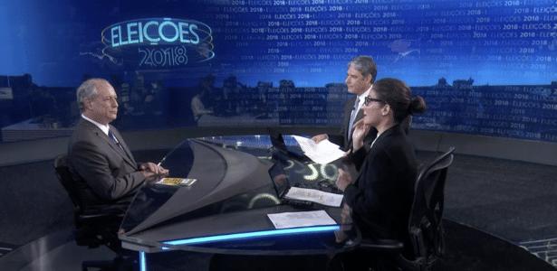 "27.ago.2018 - O candidato à Presidência da República Ciro Gomes (PDT) durante entrevista ao ""Jornal Nacional"""