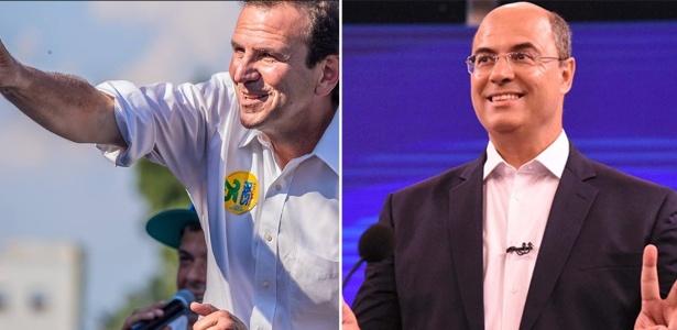 Os candidatos ao governo do Rio Eduardo Paes (à esq.) e Wilson Witzel (à dir.)