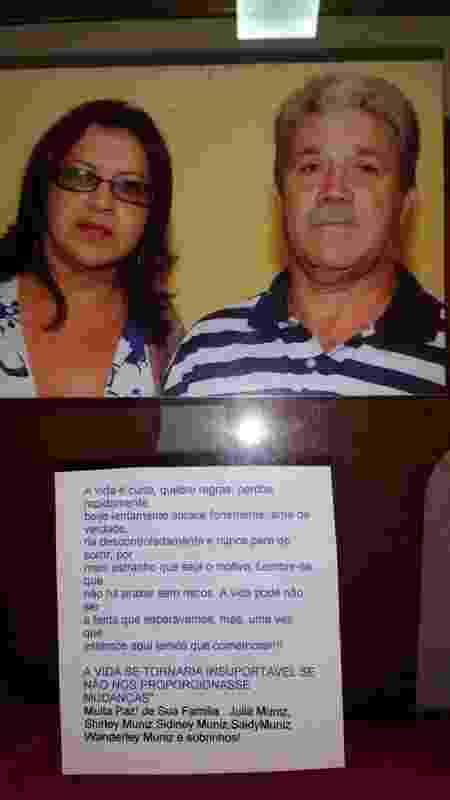 Siley Muniz Paulino e seu marido, Newton Paulino, que caiu na depressão após o assassinato do filho, Bruno, e adoeceu, morrendo sete anos depois - Arquivo Pessoal/BBC - Arquivo Pessoal/BBC