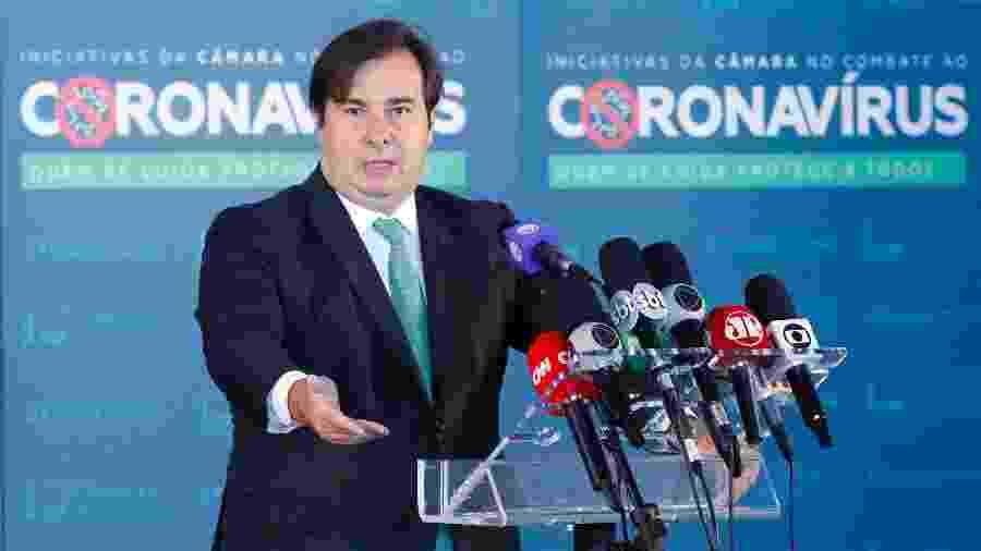 27.mai.2020 - O presidente da Câmara dos Deputados, Rodrigo Maia (DEM-RJ), em entrevista coletiva sobre a crise do novo coronavírus - Maryanna Oliveira/Câmara dos Deputados