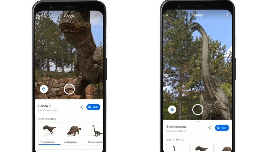 Dinossauros em recurso de realidade aumentada do Google - Reprodução