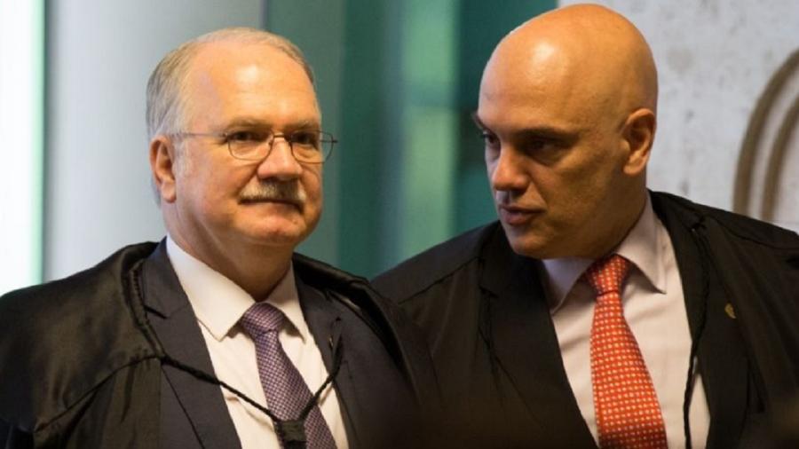 Edson Fachin, que tentou dar o triplo salto carpado hermenêutico, e Alexandre de Moraes, que lembrou, afinal, o que estava em votaçãop - Reprodução
