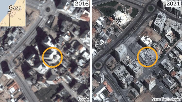 imagem de Gaza no Google Earth (data de 2016) - GOOGLE AND MAXAR - GOOGLE AND MAXAR