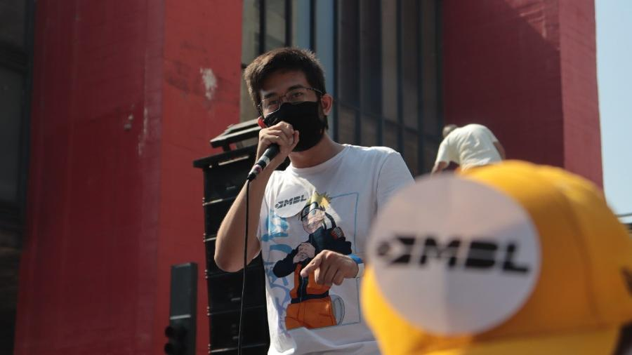 12.set.2021 - O deputado federal, Kim Kataguiri (DEM-SP), discursa durante protesto pedindo o impeachment do presidente Jair Bolsonaro convocado pelo MBL (Movimento Brasil Livre) e pelo VPR (Vem Pra Rua), na Avenida Paulista, em São Paulo - Lucas Martins/Estadão Conteúdo