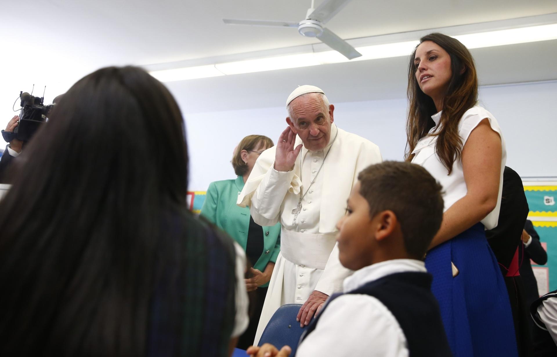 25.set.2015 - Papa Francisco faz visita a uma escola no Harlem, em Nova York (EUA)
