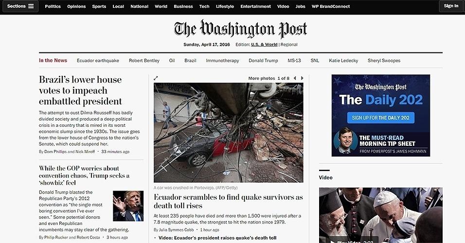 """17.abr.2016 - A aprovação do impeachment da presidente Dilma na Câmara foi um dos principais destaques do jornal """"The Washington Post"""", dos Estados Unidos"""