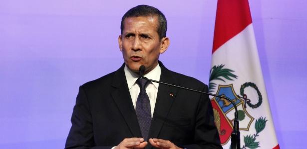 23.fev.2016 - O presidente do Peru, Ollanta Humala, participa de evento em Lima