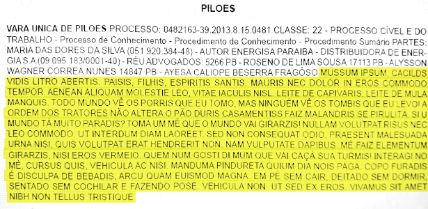 Texto do Diário Oficial do Tribunal de Justiça da Paraíba