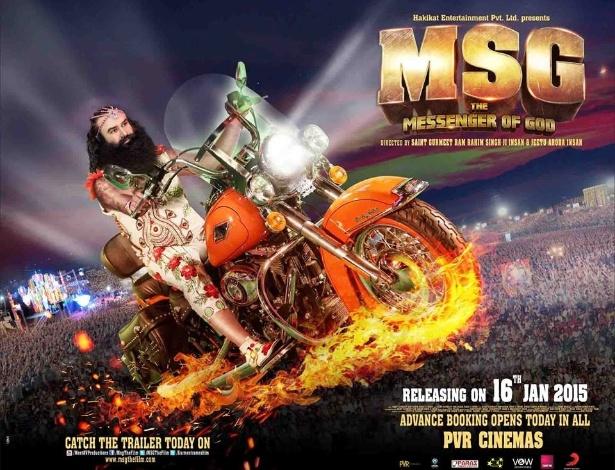 """Cartaz do filme """"Messenger of God"""" (""""Mensageiro de Deus""""), do guru indiano Ram Rahim Singh - Reprodução"""