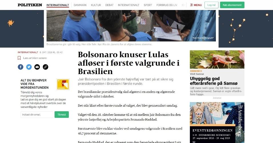 """Politiken (Dinamarca): """"Jair Bolsonaro, da extrema-direita, esteve perto de garantir a Presidência brasileira no primeiro turno"""""""