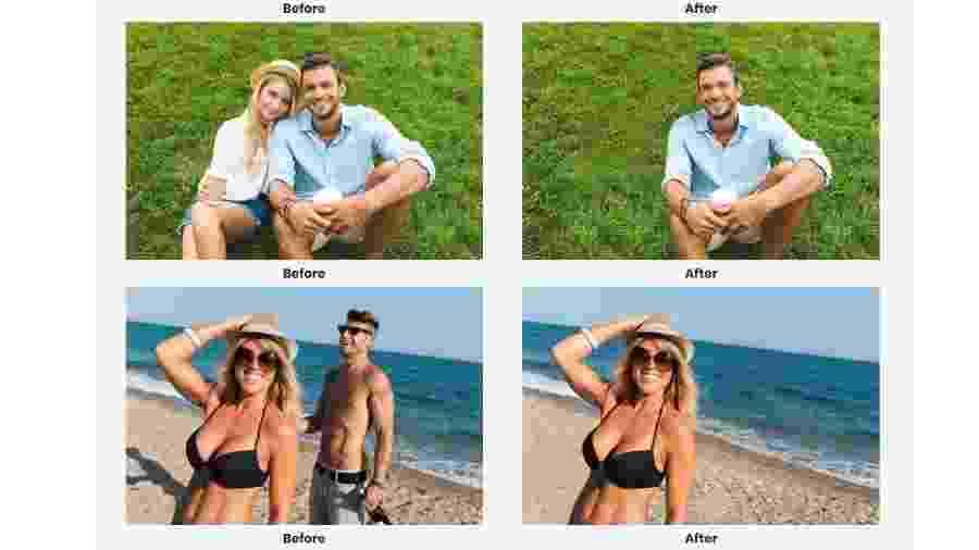 """Fotos de """"antes"""" e """"depois"""" do serviço de edição de fotos Edit My Ex - Reprodução"""