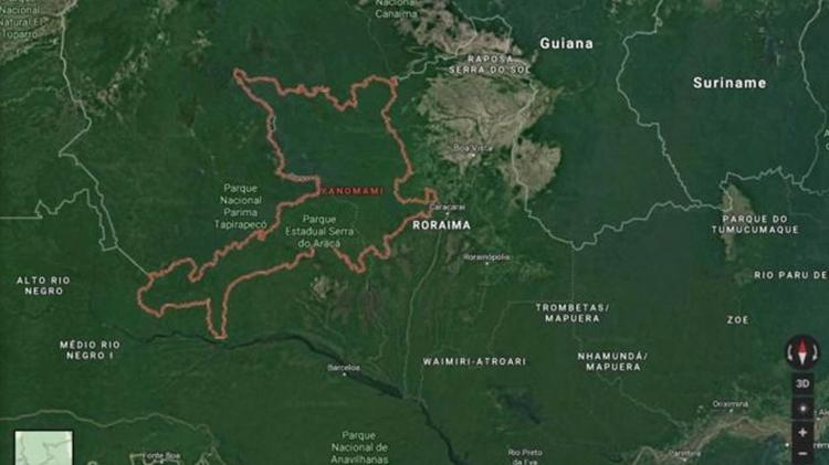 Terra Indígena Yanomami fica na fronteira do Brasil com Venezuela, nos Estados de Roraima e Amazonas - Google