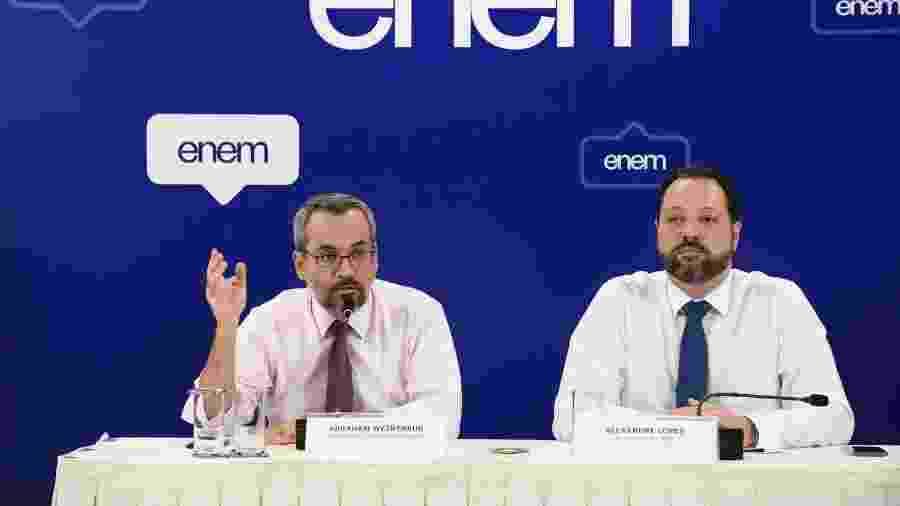 O ministro da Educação, Abraham Weintraub, e o presidente do Inep, Alexandre Lopes - Luis Fortes/MEC