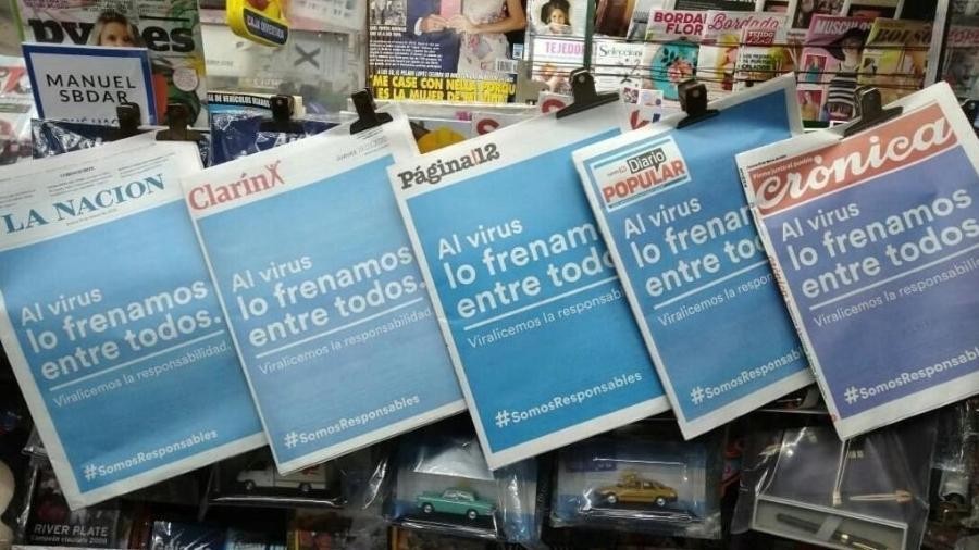 Jornais argentinos unificam suas capas em combate ao novo coronavírus - Reprodução / Twitter