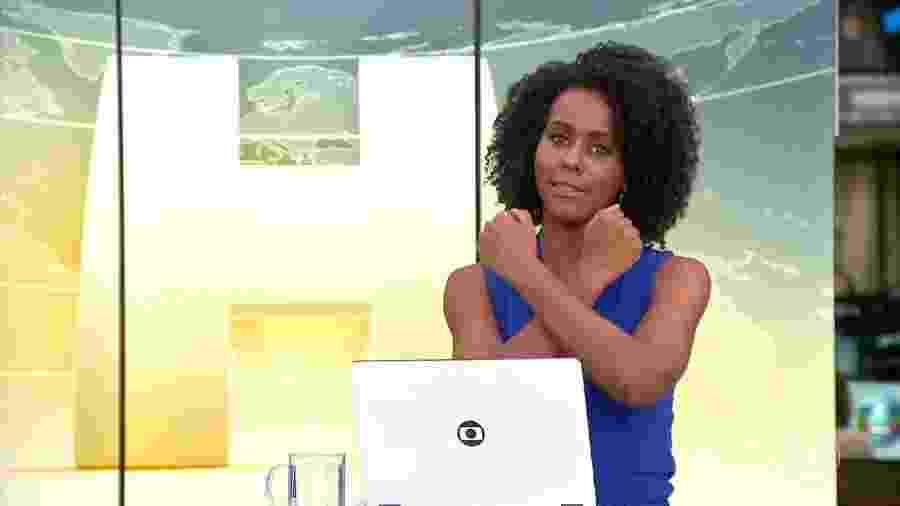 """Maju Coutinho faz """"Wakanda forever"""" em homenagem a Chadwick Boseman - Reprodução/TV Globo"""