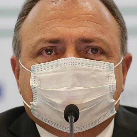 25.fev.2021 -  O ministro da Saúde, Eduardo Pazuello, durante declaração à imprensa sobre a falta de leitos em UTI no país - Dida Sampaio/Estadão Conteúdo