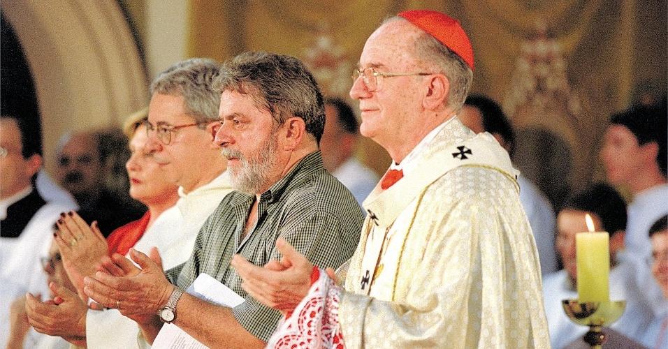 Frei Betto, Lula e Dom Cláudio Hummes, em missa na cidade de São Bernardo do Campo em 2004