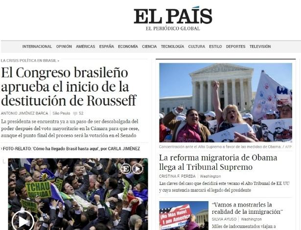 """18.abr.2016 - O jornal espanhol """"El País""""  destacou o resultado da votação do impeachment na Câmara dos Deputados"""