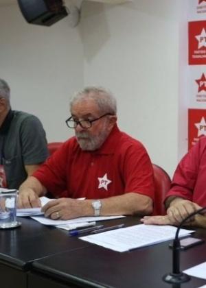 Lula em reunião da Comissão Executiva Nacional do PT em São Paulo